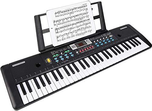 WOSTOO Teclado Electrónico Piano 61 Teclas, Teclado de Piano Portátil Con Atril, Micrófono, Fuente de Alimentación, Multifuncional Digital Música Teclado de Piano Para Niños/Adultos…