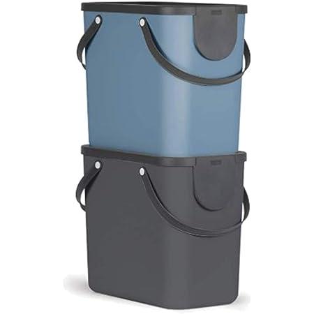 Rotho Albula Jeu de 2 systèmes de tri des déchets 25l pour la cuisine, Plastique (PP) sans BPA, anthracite/bleu, 2 x 25l (40.0 x 23.5 x 34.0 cm)