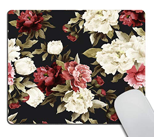 Smooffly Gaming Mouse Pad Custom,Watercolor Floral with Roses Mouse pad Non-Slip Rubber Rectangle Mouse Pads for Computers Laptop