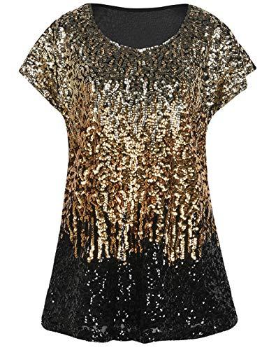 PrettyGuide Women's Evening Tops Sparkle Shimmer Glam Sequin Blouse Light Gold/Gold/Black XS/US4-6