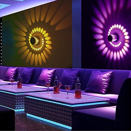LED Lámpara De Pared Apliques Pared Interior Moderno Apliques De Pared De Efecto De Luz De Pared LED De Agujero Espiral RGB Para Decoración De Hogar De KTV De Lobby De Fiesta (amarillo)