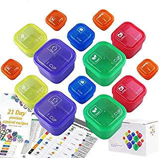 21 Days Containers and Food Plan Double Set (14-Pieces) - Portion Control Container Kit for Weight Loss - 21 Day Tally Cha...