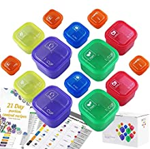 21 Days Containers and Food Plan - Portion Control Container Kit for Weight Loss - Portion Containers with Recipe - Double...
