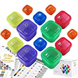 21 Days Containers and Food Plan Double Set (14-Pieces) - Portion Control Container Kit for Weight Loss - 21 Day Tally Chart with e-Book