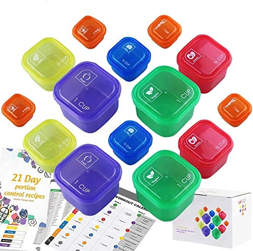 21 Day Portion Control Container and Food Plan Double Set (14-Pieces) - Portion Control Container Kit for Weight Loss - 21 Day Tally Chart with e-Book