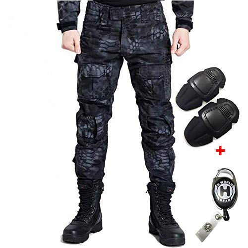H Welt EU Militär Armee Taktische Airsoft Paintball Schießen Hosen Kampf Männer Hosen mit Knie Pads, Gr.-XXL/ W-38, TYP
