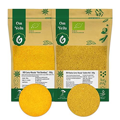 BIO Curry Pulver Gewürzmischungen 200g   Hot Bombay Masala Scharf + Madras Curry Golden Mix Mild   Indische Gewürze Currypulver Currygewürz 2er SET (2x 100g)   Organic Bio-zertifiziert DE-ÖKO-039