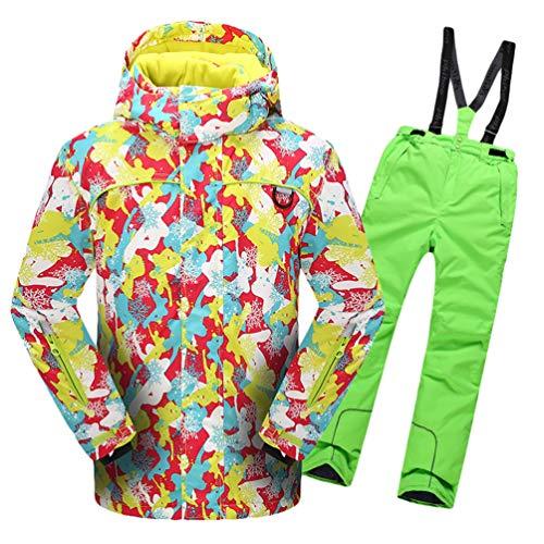 Lvguang Jungen & Mädchen Berg Wasserdicht Warm Skibekleidung Winddicht Regen Schnee Kapuzenjacke & Skihose (Grün#3, Asia XL)