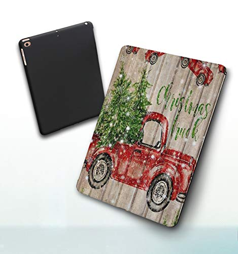 iPad 5./6. Generation shell,iPad 9.7 2018/2017,Christmas Cute Snowman Smiling New Year Background Winter Landscape Kids Cartoon, Double-fold Stand with Shockproof TPU Back Cover, Auto Wake/Sleep