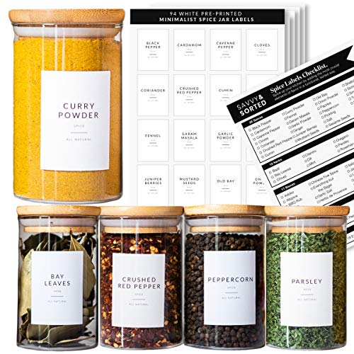 Spice Jar Labels Preprinted - Minimalist Black Text White Label - Fit Round or Rectangle Spice Jars - Herb Seasoning Kitchen Labels Pantry Organization - Waterproof Spice Labels Stickers