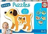 Educa - Baby Puzzles Animales Domésticos. Set de 5 Puzzles Infantiles Progresivos de 2 a 4 piezas. A partir de 12 meses. Ref. 17573
