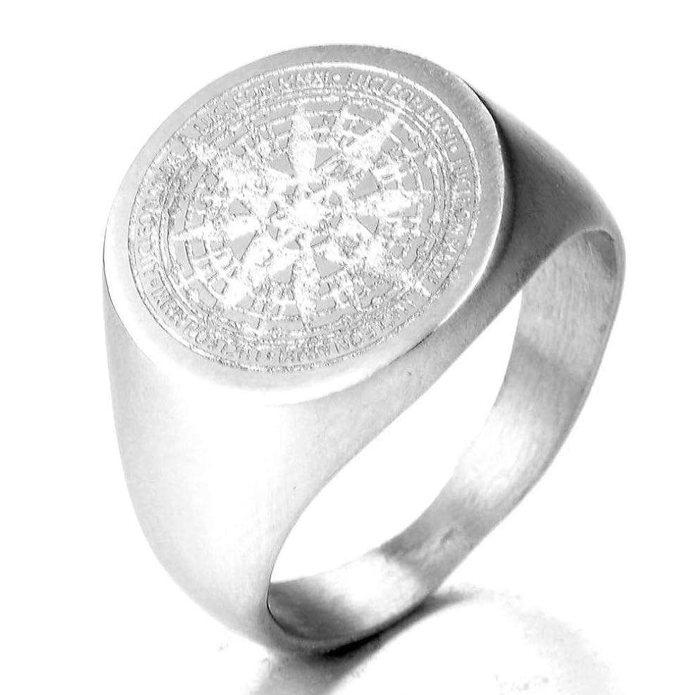 残基鍔気取らないメンズ リング シンプルなステンレス鋼メンズチタンコンパス刻まれたメタルリングゴシックパンクリングフィンガージュエリーギフト メンズファッションアクセサリー (色 : Silver, Size : 12)