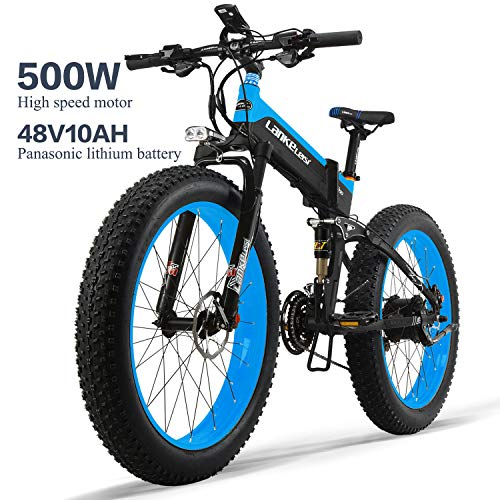 LANKELEISI XT750PLUS 48V10AH 500W Bicicleta eléctrica Potente 26 '' 4.0 Neumático Gordo Ebike Shimano 27 Speed Snow MTB Bicicleta eléctrica Plegable para Mujer/Hombre Adulto (Azul)