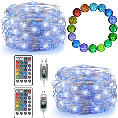 FANSIR LED String Lights, 2 Set 50 Led USB Powered Multi Color Changing String Lights with Remote, 4 Modes Twinkle Fairy Lights for Indoor Outdoor Garden Party Wedding Christmas Decor (16 Colors)