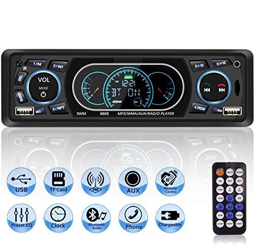 Autoradio USB Bluetooth Mains Libres, MEKUULA Poste Radio Voiture 4x60W 1 Din MP3 Lecteur de Voiture Stéréo Soutient FM USB MP3 AUX Bluetooth Télécommande, Soutien iOS, Android