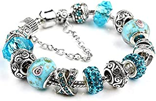 Women 925 Dangle DIY Heart Crystal Beads Charms Pandora Elements Bracelet Valentines Gift