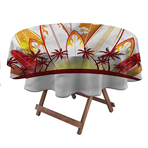 """Philip C. Williams Round Coffee Table Cover Surfboard,Tropical Island Sunset Kids Picnic Table Birthday Party Supplies Farm Party Supplies Diameter 54"""" inch"""