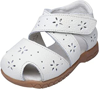 Muy Guay Baby Girls Sandals Flower Leather Toddler Sandals with Rubber Sole Closed-Toe White Summer Shoes for Kids Girls