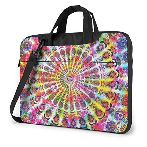 Laptop Shoulder Bag,Tie Dye Peacock Feather Shockproof Laptop Sleeve Cover Business Messenger Bag Briefcase Handbag Case 15.6 inch