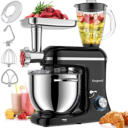 Vospeed 3 IN 1 Stand Mixer 850W Tilt-Head Multifunctional Electric Mixer with 7.5 QT Stainless Steel Bowl, Beater, Hook, Whisk, Meat Grinder, Juice Blender with 1.5L Glass Jar Dishwasher Safe (Black)