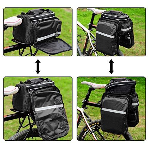 Fozela Fahrradtasche, Fahrrad Satteltasche Gepäcktasche Gepäckträger Tasche Rucksack Seitentasche mit wasserfester, reflektierender und Regenschutzdeckel - 5