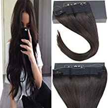 Sunny 18inch Wire Hair Extensions Human Hair Dark Brown #2 Halo Real Human Hair Extensions No Glue 10inch Width 80g Per Package