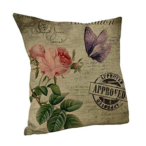 Nunubee Leinen Mix Sofa Vintage Blume Kissenbezug Quadrat Kopf Kissenbezug Art D