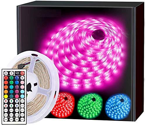 PESCA LED Strip Lights 5 Meter, RGB Color Changing LED Lights for Home, Kitchen, Room, Bedroom, Dorm Room, Bar, with IR Remote Control, 5050 LEDs (5 Meter16.4ft)