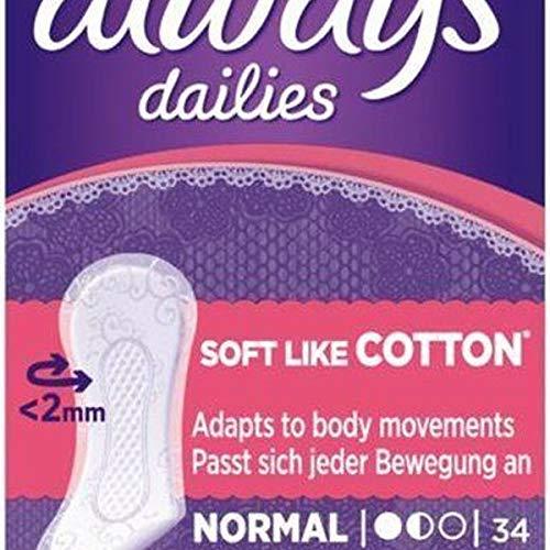 Always - Dailies Normal Classic Soft Like Cotton - Inlegkruisjes - 34 Stuks
