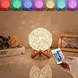 HUAQINZM LED Globe Rattan Ball Lamp 5.9 inch for ,Globe lamp,Bedroom Atmosphere Light,Children's Night Light,LED Projector Night Lamps with Remote