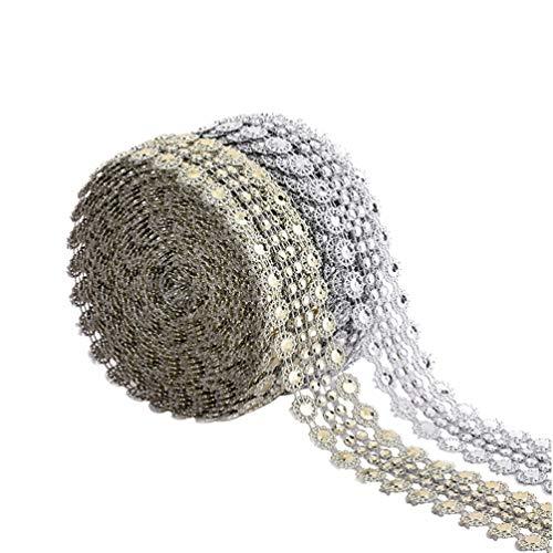 Healifty 2 rotoli di strass chiusura a catenella per cucire nastro artigianale per gioielli artigianali per abiti da sposa (argento dorato)