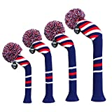 Scott Edward Pom Pom Golf Head Covers Set of 4 Blue Red White