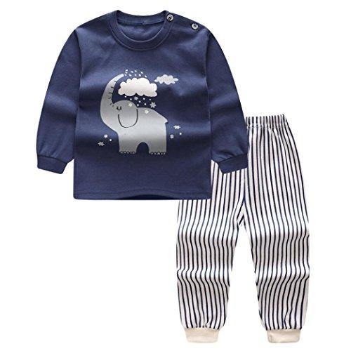 Baby Bekleidungssets Hosen & Top Sets Longra Baby Mädchen Jungen Cartoon Kleidung Langarm T-Shirt und Hosen Sets Frühjahr-Sommer Festliche Kindermode kinderkleidung (Dark Blue, 80CM 12Monate)