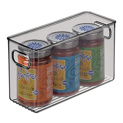 mDesign Organizador de nevera para la cocina – Cajas de plástico para guardar alimentos en el frigorífico – Fiambreras para lácteos, frutas y otros alimentos – gris