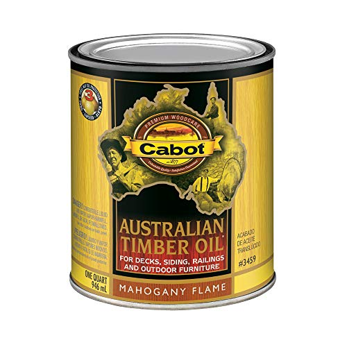 Cabot 140.0003459.005 Australian Timber Oil Stain, Quart, Mahogany Flame