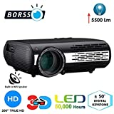 BORSSO™ Mars 9.1 FHD LED Projector with 5500 Lumens, Electric Keystone, HDMI USB VGA AV, Anaglyph 3D Format