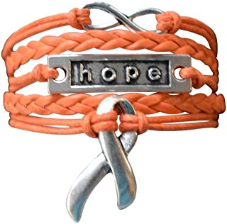 Orange Ribbon Bracelet, Leukemia Awareness, MS Awareness, Self Injury, Kidney Cancer, ADHD, Malnutrition Awareness, Awareness Jewelry