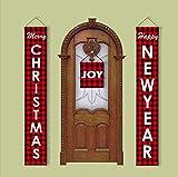 Feliz Navidad Decoración Banner, Navidad Porche Muestra roja de la tela escocesa de las banderas que cuelgan de cubierta frontal exterior de la puerta pared de Navidad Decoración de Navidad