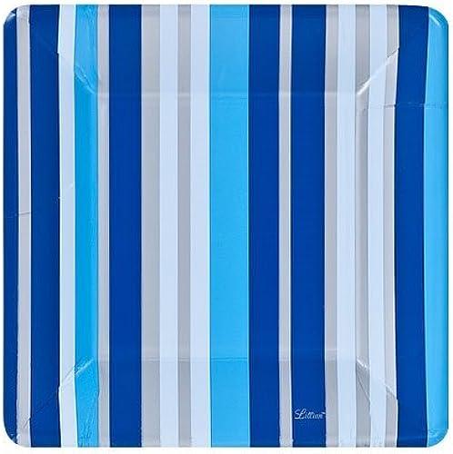 ¡no ser extrañado! Lillian Tablesettings 24-Piece Square Paper Paper Paper Plates Set, 10-Inch, azul Stripe  venta directa de fábrica