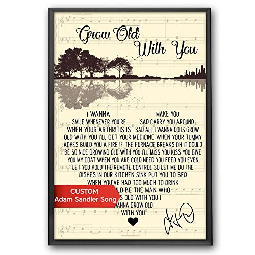 CREATORY Grow Old Along With You Lyrics Poster, Grow Old You Song Prints, The Favorite Wedding Song, Posters for Home Decor, Ready to Hang on Wall or Table Top (Design 3)