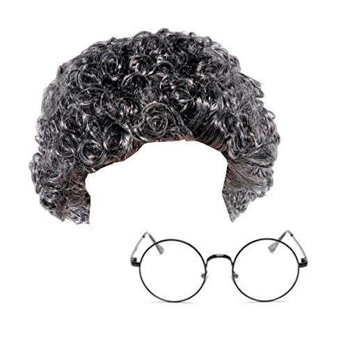 GrassVillage GREY CURLY GRANNY WIG + GLASSES SET FOR BOOK WEEK FANCY DRESS PARTY