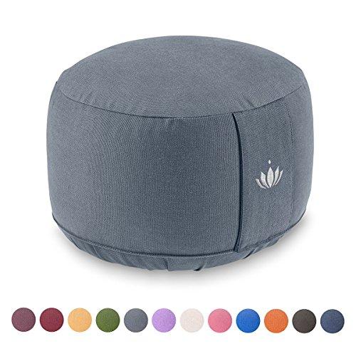 Lotuscrafts Yogakissen Meditationskissen Extra Hoch - Sitzhöhe 20cm - Waschbarer Bezug aus Baumwolle - Yoga Sitzkissen mit Dinkelfüllung - GOTS Zertifiziert
