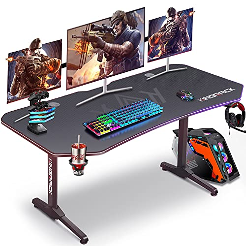 Ergonomic Game Desk, T-Shaped PC Gamer Tables Worksatation for Home Office with Carbon Fiber Surface, Full Mouse Pad, Cup Holder, Headphone Hook, 2 Cable Management Holes, 62' W x 29' D, Black