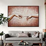 wZUN Mano romántica Abstracta con Lienzo Pintura Pared Arte Cartel Imagen para Pareja Amantes decoración de la habitación 60x90 Sin Marco