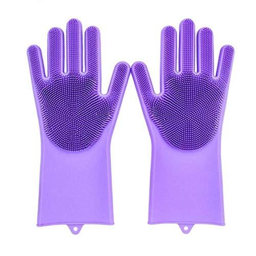 Guantes de Limpieza de Silicona 2 uds, Guantes mágicos multifunción para Lavar Platos de Silicona para Cocina, hogar, Lavado de Silicona-Dark Purple