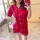 Pijama de satén de Seda para Mujer Conjunto de Pijama de Manga Larga Ropa de Dormir Informal de Dos Piezas para Mujer