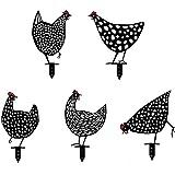 puhuoqi Hahn Metall Tier Silhouette Pfahl Für Yards, Lebensechte Henne Aushöhlen Huhn Silhouette Dekorative Garten Pfähle Metall Henne Schatten Dekor Kunst, Für Garten Im Freien (5pcs)