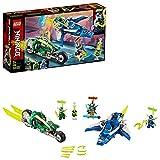 LEGO 71709 Ninjago Vehículos Supremos de Jay y Lloyd, Juguete de Construcción de Avión Deslizador y Moto Ninja con Mini Figuras