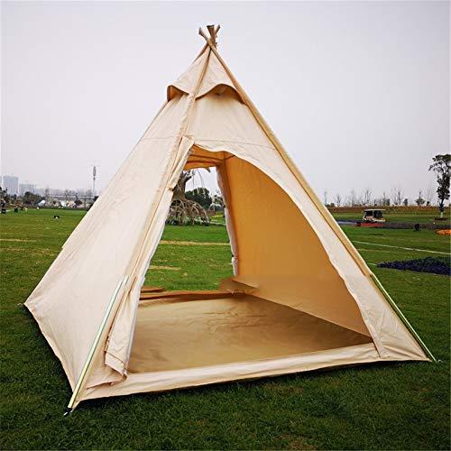RongWang Tienda De Campaña Piramidal De Lona para Acampar Familiar Al Aire Libre, Tienda Tipi India para Adultos, Tienda De Campaña Tipi para 2~3 Personas