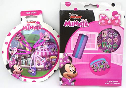 TDL Disney Minnie Mouse Set De Regalo 3 Pulsera + 18 Colgante + 6 Pinzas De Cabello - Licenciado Oficialmente - 3 Bracelets + 18 Charms + 6 Hair Clips - Gift Bundle